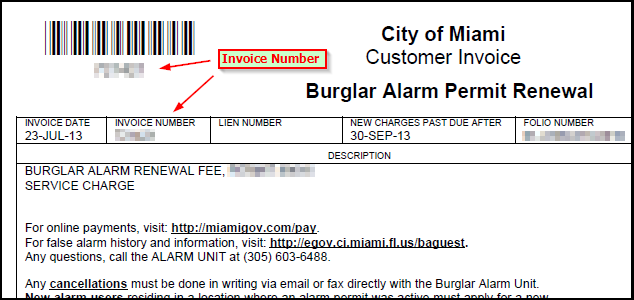 invoice/customer numbers on invoice - mpd alarm ordinance unit